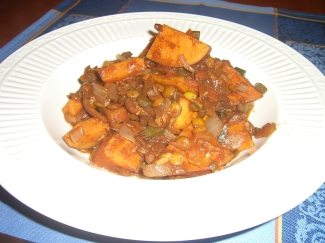 ethiopian lentils and sweet potatoes