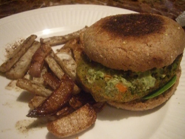 veggie burger and turnip fries