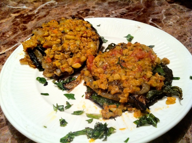 portabella mushrooms with olive tapenade